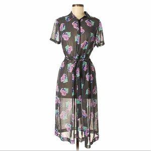 I Heart Ronson Polka Dot Floral Retro Midi Dress